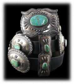 Blue to Green Fade Carico Lake Turquoise Concho Belt
