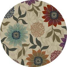 Oriental Weavers of America�Cumberland 92-in x 92-in Round Cream/Beige/Almond Floral Area Rug