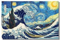 "Image info: Van Gogh's ""Starry Night"" and Hokusai's ""The Great Wave off Kanagawa"" in one painting. Fun fact: van Gogh was a huge fan of Japanese art, especially Ukiyo-e prints. Vincent Van Gogh, Gogh The Starry Night, Starry Nights, Van Gogh Art, Art Van, Katsushika Hokusai, Art Japonais, Collage Artists, Art Plastique"