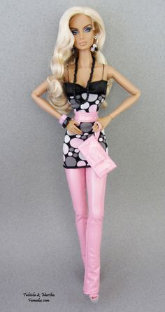Pink & Black Polka Dot Vinyl Fashion w/ Shoes For Fashion Royalty and Silkstone Barbie