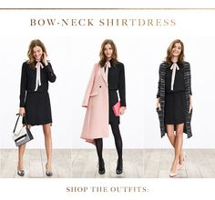 5 easy pieces 3 ways to wear. Bow-neck shirt dress // Banana Republic