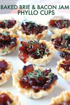 ) - Wry Toast The BEST appetizer for the holiday season, these Baked Brie & Bacon Jam Phyllo Cups are a guarantee Bacon Appetizers, Appetizers For A Crowd, Finger Food Appetizers, Finger Foods, Baked Brie Appetizer, Tapas, Phyllo Cups, Crockpot, Fast Recipes
