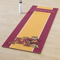 Shop Goldy Gopher & Minnesota M - Add Your Name Yoga Mat created by minnesotagophers. Different Sports, University Of Minnesota, Yoga Gifts, Your Name, Physical Activities, Namaste, Cleaning Wipes, Your Design, Latex