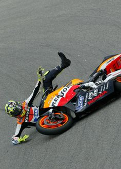 Rossi loses control of his Repsol Honda during Sachsenring practice, it was his first - and last - fall of the 2003 season.