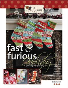 Book includes 16 projects that are all done with a Quilt As You Go method for any Holiday. Projects range from table runners, wall quilts, placemats, stockings, tree skirt, bags and ornaments for Christmas, Easter, Valentines Day, Halloween and 4th of July. All projects are very beginner friendly.