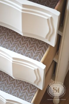 Lining drawers with inexpensive gift wrap!