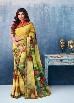 You will be confident to make a strong style statement with this Attractive Yellow Georgette Casual Printed Saree. Beautified with Printed work all synchronized very well with the design and style and. Latest Designer Sarees, Latest Sarees, Net Saree, Georgette Sarees, Bollywood Sarees Online, Saree Sale, Celebrity Gowns, Yellow Saree, Trendy Sarees