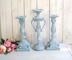 French Blue Candleholders, Set of Dusty Blue Ornate Candlestick Holders Candleholders, Candlestick Holders, Candlesticks, French Cottage Decor, Shabby Chic Cottage, Rustic French, Blue Style, French Blue, Dusty Blue