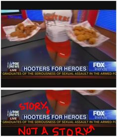 Fox News Subordinates Story about Sexual Assault in the Military in favor of Objectification of Hooters Waitress (click thru for more)   Hot mess, Fox News, hot mess.