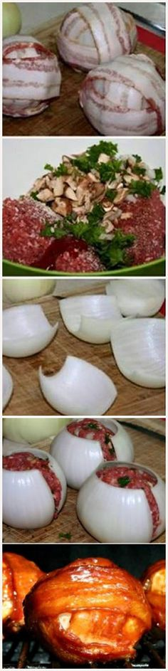 BBQ Meatball Onion Bombs healthandfitnessnewswire.com   Cook on grill for 50 mins.