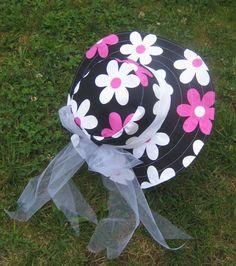 capeline sixties taille 57-58 noire et rose : Chapeau, bonnet par margeolu-ellin-s