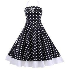 Halter Polka Dot Lace Up Midi Dress ($24) ❤ liked on Polyvore featuring dresses, halter dress, blue midi dress, midi dress, blue halter dress and lace up front dress
