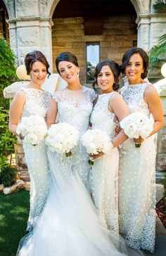 white tulle bridesmaid dresses, sheath wedding party dresses, lace bridesmaid dresses with appliques
