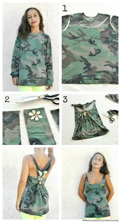 DIY tank top from oversized top
