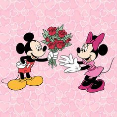 Minnie receiving roses from Mickey.