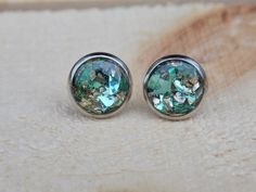 Glass Glitter Stud Earrings  jewelry posts by sewwhimsycreations