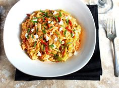Zucchini Noodles In A Creamy Roasted Red Pepper Sauce {GF and Low Carb} - FoodFaithFitness
