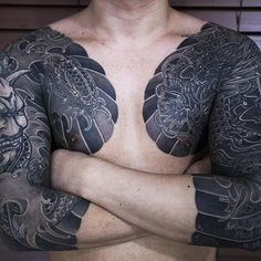 Clean and Stunning Japanese Tattoos by Haewall - bodymodification - Japanese Tattoo Art, Japanese Tattoo Designs, Japanese Sleeve Tattoos, Best Sleeve Tattoos, Cover Up Tattoos, Body Tattoos, Buddha Tattoos, Hand Tattoos, Tribal Tattoos