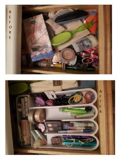 Make up organization with a silverware tray! you could find some at dollar tree for $1.00!