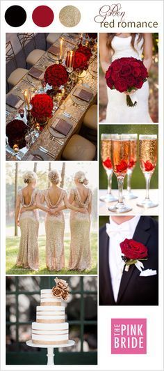 Red and Gold wedding inspiration and ideas for a classic wedding day look and feel - wedding colors and color palette inspiration