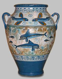 Reproduction of a Minoan dolphin pot.  {Not old]