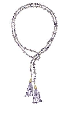 Lariat-Style Necklace with Amethyst Gemstone Beads, Swarovski Crystal Beads, 14Kt Gold-Filled Beads and Seed Beads