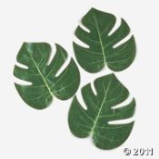 tropical leaves decor. Oriental Trading. $4.49 for a dozen.