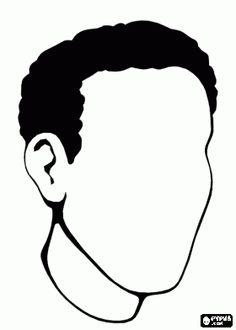 Jonge man het hoofd te trekken van de mond, neus en ogen kleurplaat