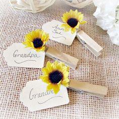 Sunflower Wedding Place Card Holder, Rustic Wooden Place Card Holder, Rustic… More