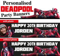 Personalised Deadpool Birthday Party Banners Decoration