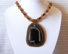 Beadwork Bead Embroidery Pendant Necklace with Dark by lutita, $80.00