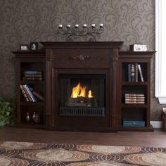 "Amazon.com: 42"" Gel Fireplace with Book Shelf , TV Media Stand, Espresso Finish: Furniture & Decor"