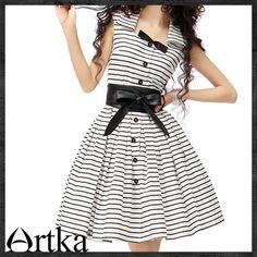 Black and White Women's Summer Vintage Dress  aliexpress.com