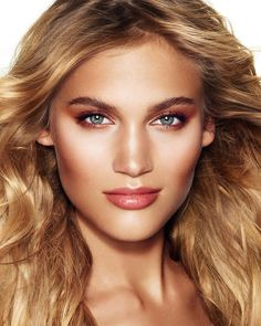 """Charlotte Tilbury: The Golden Goddess """"With honey-toned cheekbones, glowing skin and gleaming eyelids, the golden goddess looks more at home in Saint-Tropez than anywhere else. Live a life of endless summer."""""""