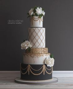 This is our beautiful wedding cake! So perfect and oh so tasty! De La Creme Studio in St. Louis MO is the place to go! This is our beautiful wedding cake! So perfect and oh so tasty! De La Creme Studio in St. Louis MO is the place to go! 1920s Wedding Cake, 1920s Cake, Fancy Wedding Cakes, Great Gatsby Wedding, The Great Gatsby, Beautiful Wedding Cakes, Wedding Cake Designs, Wedding Cupcakes, Beautiful Cakes