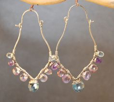 Luxe Bijoux 164 Hammered drops with Amethyst by CalicoJunoJewelry, $114.00