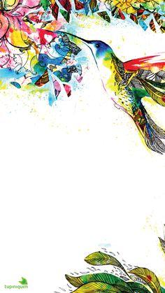 Wallpeper | Papel de Parede | Fundo de Tela para Celular Beija-flor feito à mão em aquarela e nanquim para trazer um colorido ao wallpaper do seu smartphone! Visite a pasta e baixe os que mais combinam com você!