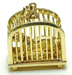 WOW Vintage 14k yellow Gold Moving head Tiger wild Animal In a CAGE Charm 1960s in Charms & Charm Bracelets | eBay