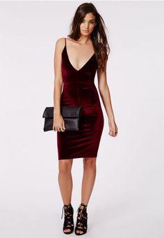 Cheyanne Velvet Strappy Midi Dress Burgundy - Dresses - Midi Dresses - Missguided