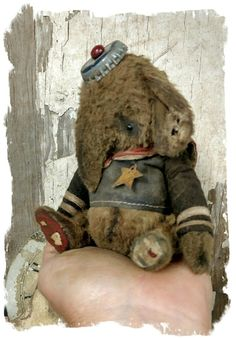 "Image of TINY CHUBBY  Old & WORN SAILOR ELEPHANT -5.5""  By Whendi's Bears"