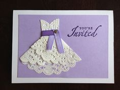 wedding shower invitations made with cricut or cutout lace in