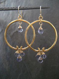 Lapis lazuli boucles d/'oreilles pendantes laiton conclusions Leverbacks Semi Precious Gemstone