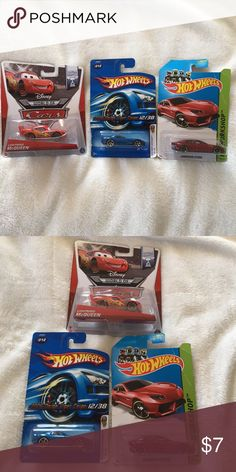 Hot Wheels Cars Bundle of three toy cars. Two hot wheels (Dodge Viper & Lamborghini Estoque) and one is Disney's Lightning McQueen (Piston Cup Version). All are still sealed in their package. Other