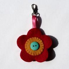 Felt Flower Keyring with Button Embellishment £2.50 #handmade