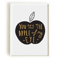 Apple Of My Eye Print Illustration Hand lettering Valentine's Day Print by OldEnglishCo, Ice Cream Poster, Ice Cream Art, Handwritten Typography, Hand Lettering, Apple Prints, Kitchen Prints, Fine Art Paper, My Eyes, Art For Kids