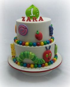 """This cake was made based on the book """"The Very Hungry Caterpillar"""" by Eric Carle and made for little Zara who is a big fan and turning 1 this weekend"""