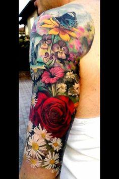 sleeve tattoos, arm tattoos, inked men, inked girls, tattoo i Sleeve Neue Tattoos, Ink Tattoos, Body Art Tattoos, Tatoos, Tattoos Pics, Tatoo Flowers, Colorful Flower Tattoo, Colorful Tattoos, Butterfly Tattoos