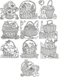 Blackwork embroidery but would be awesome colored/painted or embroidered in color. Enlarge individual pic(s) and use on canvas. Blackwork Embroidery, Folk Embroidery, Cross Stitch Embroidery, Machine Embroidery Designs, Embroidery Patterns, Quilling, Basket Drawing, Advanced Embroidery, Cute Coloring Pages