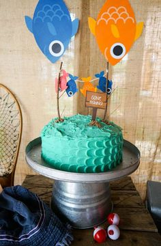 Fishing Birthday Party Ideas Swiss cake Decoration and Cake