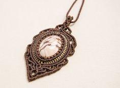 Macrame Zebra Jasper Pendant Necklace Gemstone Vintage by Amonithe